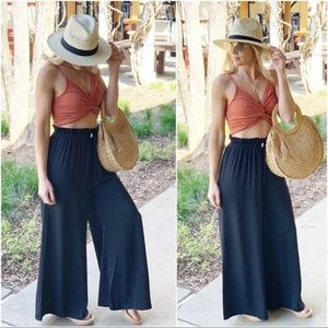 Infinity Raine Pants - Black Wide Leg High Waist Drawstring Pants